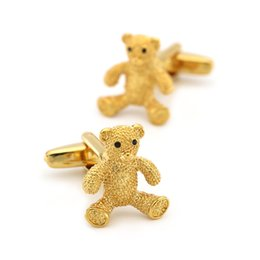 golden cuff links Australia - Men's Teddy Bear Cuff Link Copper Material Golden Color