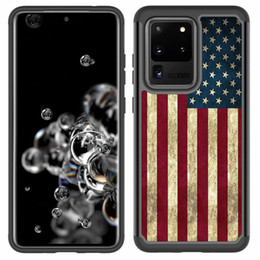 galaxy flag NZ - American Flag Marble Geometric Shockproof Case For Samsung S20 Note 20 Ultra S10 Hard PC TPU USA Hybrid Defender Armor Stone 2 in 1 Cover