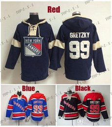 Wholesale best time for sale - Group buy 2016 New Best Quality Mens Old Time Hockey Hoodies Jersey New York Rangers Wayne Gretzky Hoody Blue Dark blue Size M XL