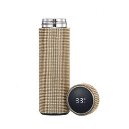 stainless steel smart mug UK - diamond thermos water bottle Fashionable stainless steel smart temperature display vacuum thermos mug gift for men and women 520 0V8Z