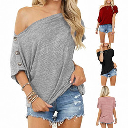 short sleeves loose strapless tops 2021 - 2021 Summer Women's Tops Loose One Strapless Button Design Casual T Shirt Lady Fashion Sexy Cotton Short Sleeve T-shirt Tees