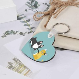 Sublimation Heart Shape Key Chain Heat Transfer Printing MDF Blank Key Pendant DIY Print picture photos Keyring Birthday Party Gift LLA530 on Sale