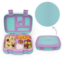 Toptan satış 2 VEYA 1 ADET Çocuklar Için Öğle Yemeği Kutusu Gıda Konteynerleri Mikrodalga Yapılmaz Bento Snack Kutusu Karikatür Okul Su Geçirmez Saklama Kutusu