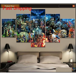 print band posters NZ - 5 Piece Print Poster Iron Maiden Band Paintings On Canvas Wall Art For Home Decorations Wall Decor Unique Gi qylGGW wrhome