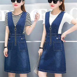Discount women sexy top jeans Women Sleeveless Denim Dress Female Summer Sundress With Tops New Deep V-Neck Front Zipper Sexy Jeans Dresses