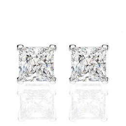 Wholesale princesses nails resale online - HBP luxury S925 pure silver high carbon sparkle fire color Princess Square Earrings fashion simple Japanese and Korean Earbone nails