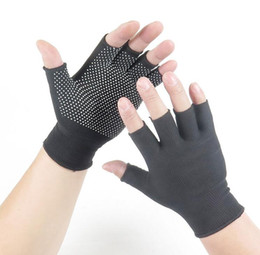 Anti skid Half Finger work gloves for men and women in summer Nylon high elastic dew five fingers cycling thin style sweat absorption sprin on Sale
