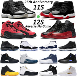 Wholesale Mens basketball shoes jumpman 11 Jubilee 25th Anniversary Bred Concord Dark 11s Reverse Flu Game 12s Taxi men women outdoor sneakers trainer