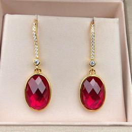 HBP luxury pure Tremella nail fashion Japanese and Korean ear hook simple inlay 9 * 11 red corundum versatile female jewelry on Sale