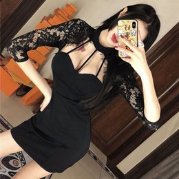 saia noite sexy meninas venda por atacado-Sexy Night Show Lace Neck Strapless Dress Eye Catching Party Low Cut Skirt Girl