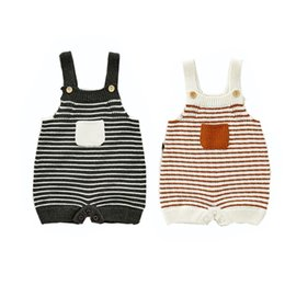 baby patch clothing 2021 - Newborn Baby Girls Boys Autumn Winter Clothes Toddler Kids Baby Sleeveless Rompers Stripe Patch Overalls Infant Jumpsuit