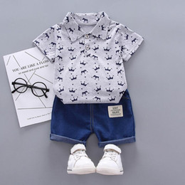 butterfly toddler baby clothing NZ - 40# Toddler Kids Clothes For Babies Boy Girl Short Sleeve Crown Pattern Shirt Tops+ Denim Pants Set Childrens Boutique Clothing