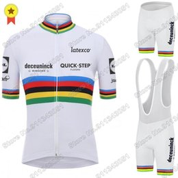 Wholesale Racing Sets White World Quick Step Cycling Jersey Set Race Clothing Road Bike Suit Bicycle Bib Shorts Maillot Cyclisme