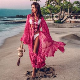 vestido coberto de rosa venda por atacado-Hot selling Rose Red Chiffon Imprimir Cardigan Beach Sunscreen Cover Dress
