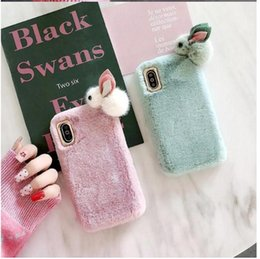Wholesale iphone6 phone shell for sale - Group buy Fashion Cute for iPhone6 S plus X XR MAX PRO Soft Fur Cover Rabbit Downy Phone Cases Cartoon TPU Shell