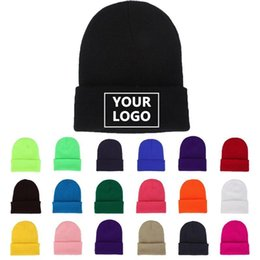Discount custom beanies 5PCS DIY Personality Knit Hats Design Custom LOGO Autumn Winter Solid Color Skullies Beanies Men Women Team Customize
