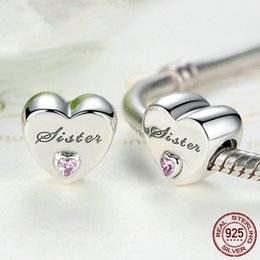 Wholesale Heart shape Sister Dad Mom Daughter beads fit Original Pandora charms silver 925 Bracelet trinket jewelry for women DIY making434 T2