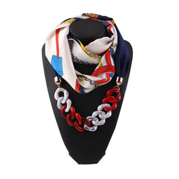Wholesale European American Fashion Silk Scarf Pendant Necklace Decoration Ring Scarf National Scarves Foulard Femme Accessories Scarf