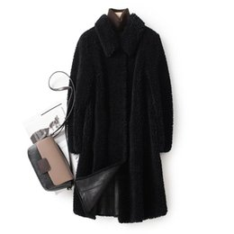 Wholesale shearing coats resale online - New natuarl sheep wool coat women real Sheep shearing fur jacket winter overcoat plus size F1206