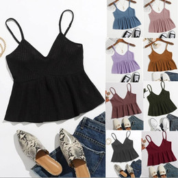 Wholesale amazon women clothing for sale - Group buy Hot selling Spring and summer new Amazon waffle knit suspender top with ruffled hem Fashion Sexy V Neck Mini Dress Halter Top Clothing