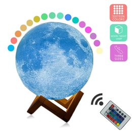 moon night lights UK - New Arrival 3D Print Star Moon Lamp 16 Colorful Change Touch Home Decor Creative Gift USB Rechargeable Night Light Galaxy Lamp