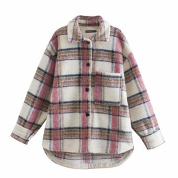 Discount woolen coat women high collar 2021ladies elegant Shirt Woolen Jackets Plaid Cardigan Coat High Quality Spring Fall Pocket Button Checked Shirt