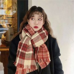 scarves cotton bird Australia - Christmas scarf red double-sided versatile Korean couple shawl thousand bird Plaid British neck girdle female