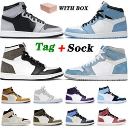 Shoes 1 1s Univeristy Blue High Dark Mocha White Jumpman Mens Women Hyper Royal Freeze Out Trainers Sneakers 36-46 on Sale