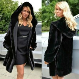 black faux fur trim UK - Long Faux Fur Coat Women's Autumn And Winter New Coats Women's Hot Sale Black Plus Size Plush Coat Warm Fur Jacket 201015