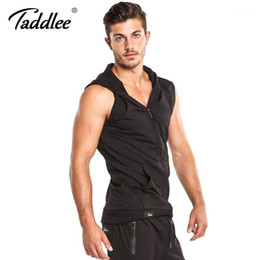Wholesale sleeveless hoodies resale online - Taddlee Brand Hooded Tank Top Cotton Mens Sleeveless Zip Up Black Solid Color Active Tees Casual Hoodies Fitness Stretch New1