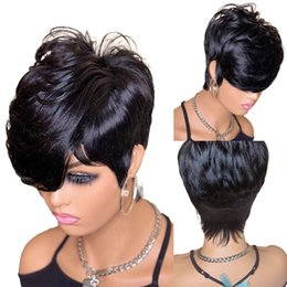 Short Cut Pixie Wavy Indian Bob Human Hair Wigs No lace Wig With Bangs For Black Women Full Machine Made