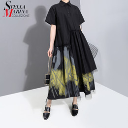 Discount new style paint shirt New 2021 Painted Style Women Summer Designer Vintage Black Long Shirt Dress Retro Print Mesh Overlay Lady Casual Dress Robe 6138 210302