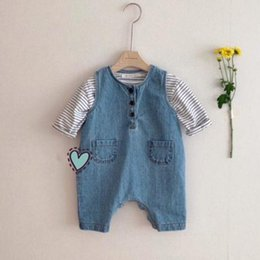 spring baby clothing Australia - 2021 Spring New Baby Boys Denim Jumpsuit Romper Girls Sleeveless Playsuit Kids Overalls Newborn Baby Clothing Q0201