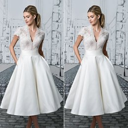 camp wedding dress Australia - Pure white lace stitching buckle banquet temperament fashion slim wedding V-neck dress