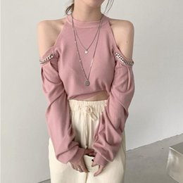 fashion cut t shirt 2021 - 2021 Spring Cut Off Shoulder Chain Solid Fashion Long Sleeve Crop Top Short T-Shirt Women Sexy Stretwear Korean Tee