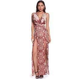 sexy nice long dress 2021 - 2021 Women's Night Club and Party Dresses Sexy V Neck Split Fashion Lady's Sequins Dress Nice Long Formal Dress