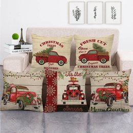 cotton trucks Australia - 45cm*45cm red christmas truck design linen cotton throw pillow covers couch cushion cover home decor pillow