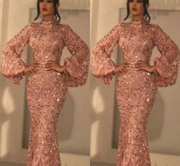 Duabi árabe vintage manga comprida vestido de noite modesto pescoço alto laço cetim noite festa formal vestido desgaste especial link em Promoção