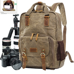 Canvas Digital SLR Photo Backpack Durable Photographer Padded Camera Bag for Cameras Lens Flash Tripod Charger 15 inch Laptop on Sale