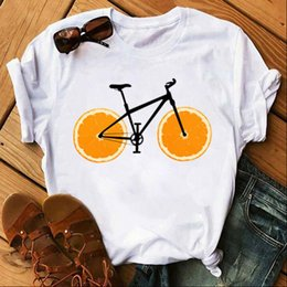 bicycle print tops 2021 - Womens T Shirt Orange Donut Bicycle Shirts Women Soft Funny Kawaii Clothes Graphic Tees White Tops