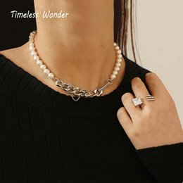 wonder woman gifts 2021 - Timeless Wonder Brass Geo Pearl Pave Choker Necklace Women Jewelry Punk Ins Kpop Boho Designer Fancy Hiphop Gift Party Rare 5722
