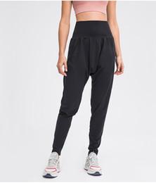 L-155 Women Yoga Pants High Waist Stretch Fitness Trousers Slim Running Sports Pants Ladies Dance Training Bell-bottoms on Sale