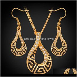 Discount gold silver mix jewellery Crystal Jewelry Luxury G Vintage Necklace Pendant Earrings Real 18K Gold Plated Fashion Jewelry Set Austria Crystal Jewellery Ys692 6W Dgz13