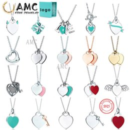 Wholesale AMC tiff necklace 925 silver pendant necklace female jewelry exquisite craftsmanship official logo classic blue heart necklace
