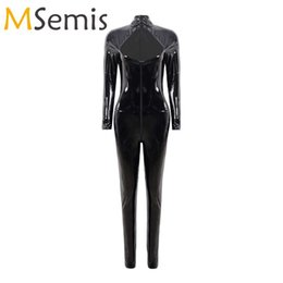 Wholesale womens fitted jumpsuits resale online - Womens Body Suit Latex Wet Look Jumpsuits Leather Cutout Front Skinny Bodysuit Long Sleeve Zipper Slim Fit Clubwear Costumes