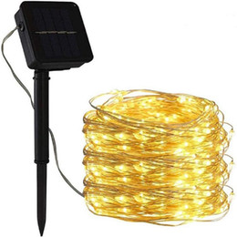 Wholesale 10M 100 LED Solar Light String Copper wire Outdoor Waterproof Garden Fairy Lights String Christmas Wedding Party Solar Light Decoration