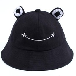 adult frog hat Canada - Foldable Cotton Frog Bucket Hat Summer Sunscreen Fisherman Cap Hunting Sunhat D08E