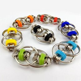 Wholesale Flip Fidget Bike Chain Spinner Key Ring Flip Finger Spinners Roating Keychain ADHD Sensory Autism Stress Reliever Decompression Toy H39XE77