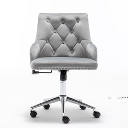 High Back Office Velvet Computer Chair, Home Furniture Swivel Modern Design for Task Reception Bedroom Study, with Arms by sea DWE9554 on Sale
