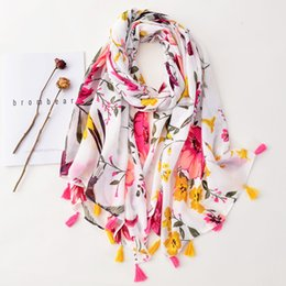 scarves cotton bird Australia - Japanese and Korean plain white plant flower Fringe Scarf soft long cotton linen sun proof shawl flying bird beach towel 7OKF